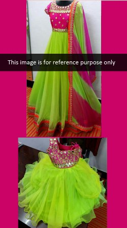 Glamorous Like Mother Like Daughter Bright Green Net Matching Dress BP0426