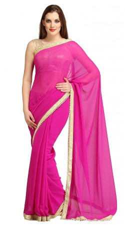 Glamorous Pearl Moti Border Magenta Bridesmaid Saree 2YS118360