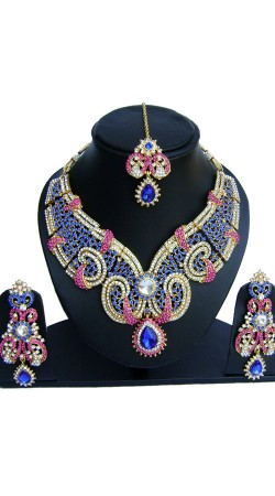 Glamorous Pink And Blue Stones Work Designer Jewellery NNP74502