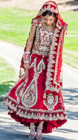 Glamorous Red Heavy Work Designer Fish Cut Bridal Lehenga