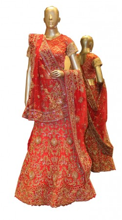 Glamorous Red Net Bridal Lehenga Choli With Heavy Work SD1658