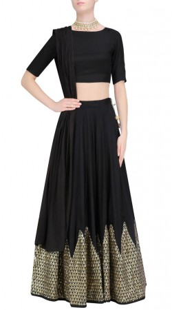 Glamorous Silk Black Designer Crop Top Lehenga With Matching Dupatta SUUDL23619