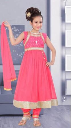 Glamorous Silver Lace Border Pink Net Kids Girl Anarkali Suit DTK752