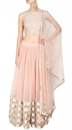 Glamorous Silver Lace Work Light Rosy Pink Net Lehenga Choli SUUDL12916
