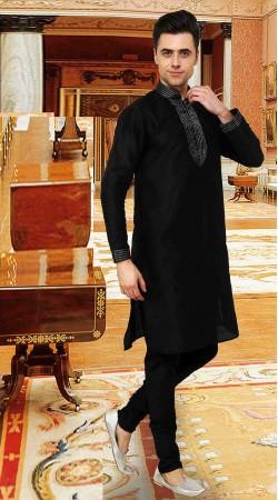 Glamorous Thread Work neck Black Art Dupian Kurta Payjama DTEKP1050