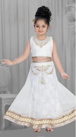 Glamorous White Net Kids Girl Lehenga Choli With Dupatta DTK1752
