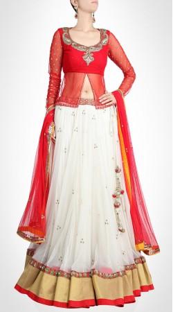 Glamorous White Net Lehenga With Designer Red Choli SUUDL15416