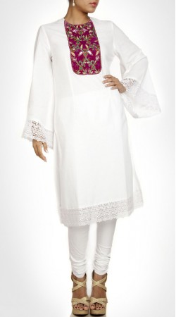 Glamorous White Silk Designer Crosia Kameez With Umbrella Sleeves SUMS24817