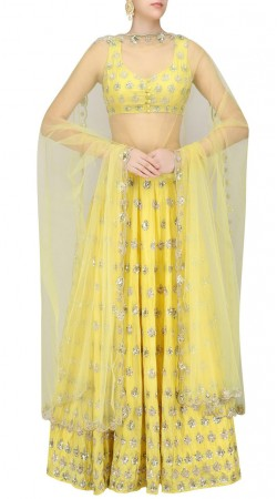 Glamorous Yellow Silk Designer Lehenga With Floral Sequins Work SUUDL20919