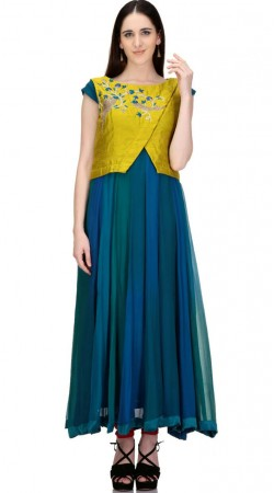 Gleaming Blue And Parrot Green Designer Koti Style Gown SMC2102