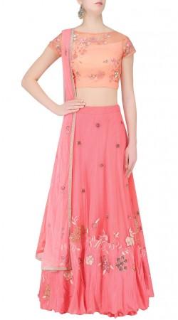 Gleaming Floral Work Pink Net Designer Lehenga Choli SUUDL20419