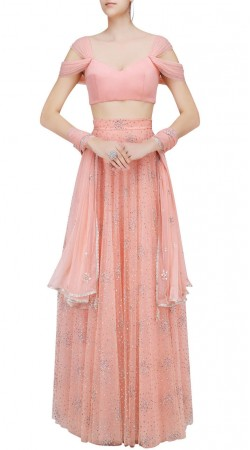 Gleaming Net Onion Pink Designer Crop Top Lehenga With Dupatta SUUDL23319