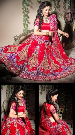 Gleaming Red Net Wedding Lehenga Choli With Dupatta LD002205