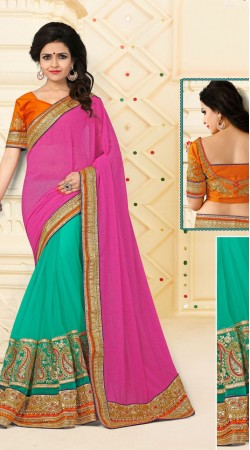 Glitzy Sea Green Digital Net Pink Catatonic Georgette Saree VB11128D29