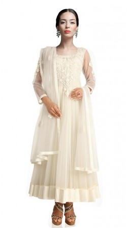 Glitzy White Net Ankle Length Anarkali Suit SUUDS18902