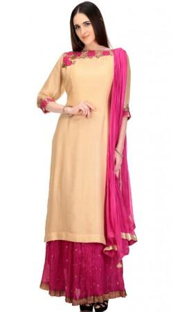 Glossy Floral Work Golden Long Kameez With Magenta Skirt SMC2702