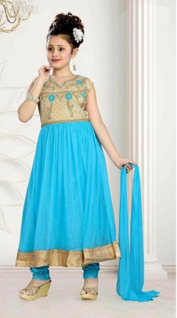 Glossy Golden Border Sky Blue Kids Girl Long Anarkali Suit DT10848