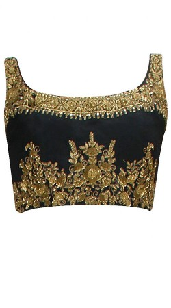 Gold Embroidered Black Premium Fabric Designer Blouse For Saree BP2509