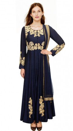 Gold Embroidered Dark Blue Silk Party Wear Salwar Kameez SUMA1809
