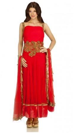 Gold Embroidered Red Silk Plus Size Salwar Kameez With Dupatta SUMA2509