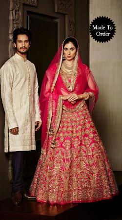 Gold Embroidered Ruby Premium Fabric Replica Designer Bridal Lehenga Choli BP0703