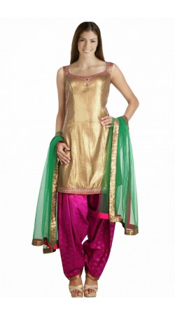 Golden And Rani Pink Georgette Patiala Salwar Kameez With Light Green Dupatta SUMS1212
