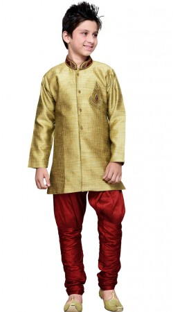 Golden Art Silk Indo Western Sherwani For Kid Boy GR12610