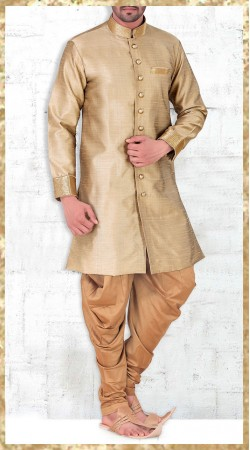 Golden Banarasi Silk Party Wear Kurta With Jodhpuri Pant 2MV1994521