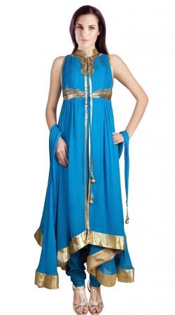 Golden Border Light Blue Georgette Indo Western Salwar Kameez SU23611