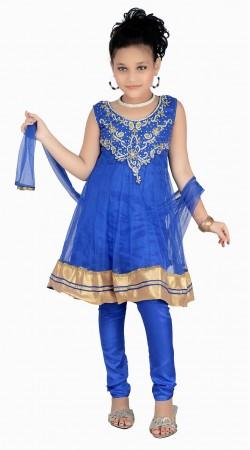Golden Border Light Blue Net Readymade Kids Salwar Kameez DT0540