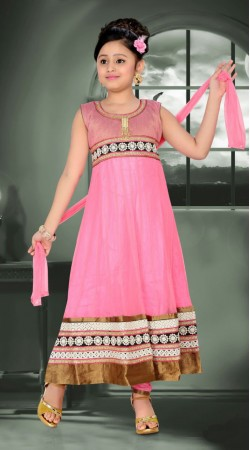 Golden Border Pink Georgette Readymade Kids Long Suit DT700337