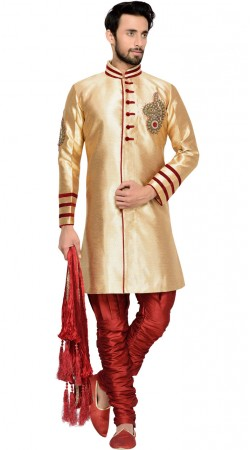 Golden Brocade Party Wear Men Indo Western Sherwani GR144309