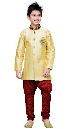 Golden Cream Art Silk Boy Indo Western Sherwani GR16212