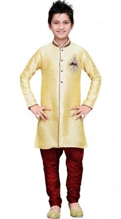 Golden Cream Art Silk Party Wear Kid Boy Sherwani GR18214