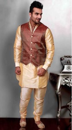 Golden Cream Art Silk Red Nehru Jacket Style Kurta Pyjama DTKPJ433