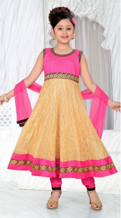 Golden Cream Georgette Readymade Kids Anarkali Suit With Pink Dupatta DT701037