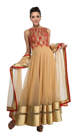 Golden Cream Net Ankle Length Anarkali Suit Wsith Dupatta SUUDS28504