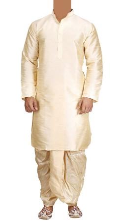 Golden Cream Raw Silk Dhoti Kurta For Men BP1038
