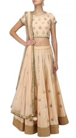 Golden Cream Silk Party Wear Crop Top Lehenga SUUDL31931