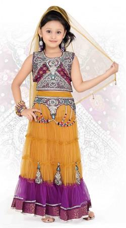 Golden Orange Net Readymade Lehenga DT901529