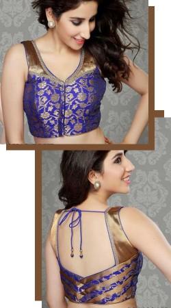 Golden Touch Blue Premium Fabric Designer Blouse For Saree BP0209