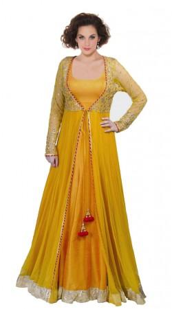 Golden Yellow Net Floor Length Anarkali Suit SU1501