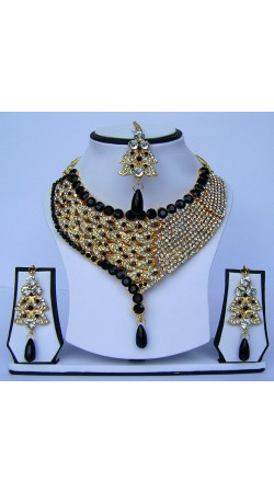 Gorgeous Black Stone Work Golden Plated Designer Necklace Set With Tika N62399