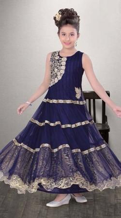 Gorgeous Blue Net Kids Girl Designer Ankle Length Gown DT11948