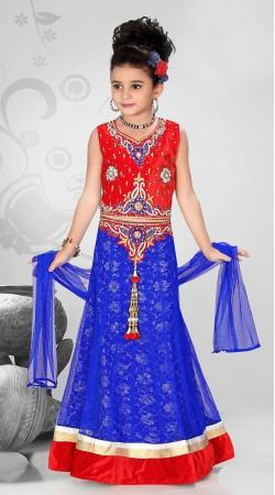Gorgeous Blue Net Kids Girl Designer Lehenga With Red Choli DTK1952