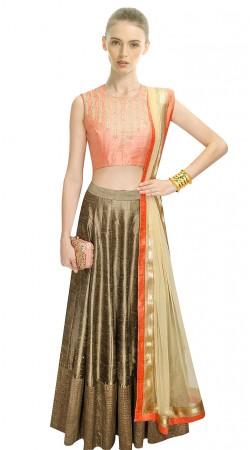 Gorgeous Golden Khaki Silk Lehenga With Salmon Crop Top SUUDL10415