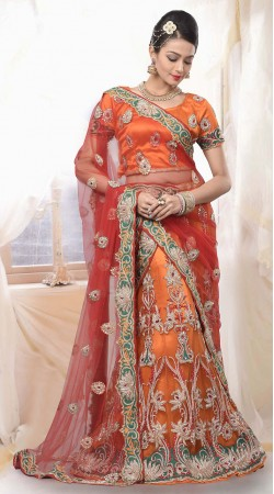 Gorgeous Orange Net Semi Bridal Lehenga Choli With Dupatta ZP1305