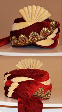 Gorgeous Red And Cream Embroidered Velvet Groom Wedding Pagri ZP1108