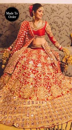 Gorgeous Red Premium Fabric Designer Replica Heavy Bridal Lehenga Choli BP2208