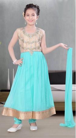 Gorgeous Sky Blue Premium Fabric Kids Girl Long Anarkali Suit DT11048